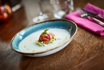 Banana gazpacho with lobster - La Bodega restaurant